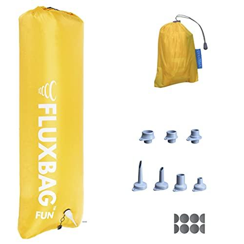 FLUXBAG Original - Fun 100L - Luftpumpe / Pumpsack zum Aufblasen von Isomatten, Luftmatratzen & Co. - Inkl. 8X radikal verbessertes Zubehör - Gelb