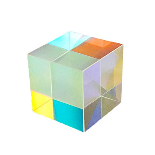 QUEENBACK Farbige Würfel Prisma 6-seitiges helles Licht Kombinieren Würfel Prismenstrahl Spaltung Optisches Experiment Foto-Requisite