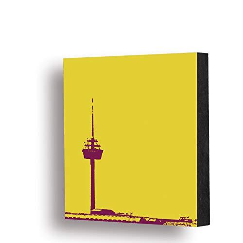 Bild - Colonius (gelb), 10x10cm, MDF, Gescenk, Deko, Köln, Kölngeschenk, Ehrenfeld, Cologne, Holz, Kunst