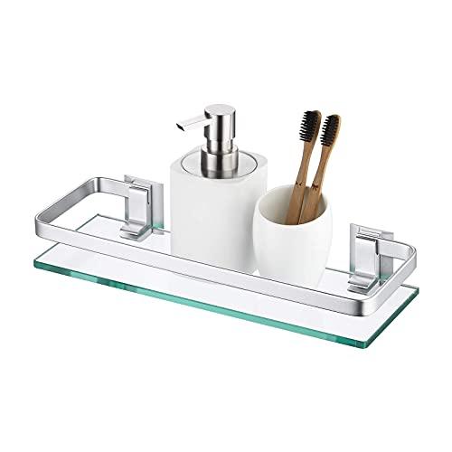 Amazon Brand - Umi Estantería Baño Estante Baño Cristal 8MM Extra Gruesa Vidrio Templado Baldas Pared Rectangular Aluminio Plateado, A4126A