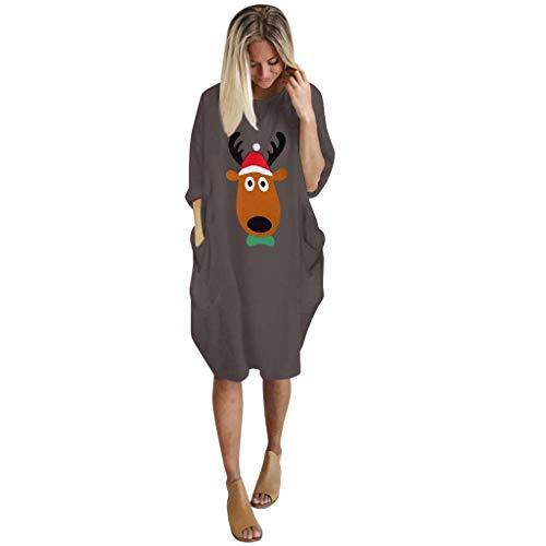 Kviklo Damen Weihnachtskleid Langarm O-Ausschnitt Lange Tops mit Tasche Gr. XXXXL, C Kaffee