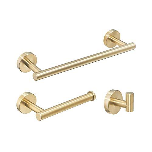 3 Piezas Juego de accesorios de baño SUS 304 acero inoxidable Sostenedor del papel higiénico Barra de toallas Gancho de bata Oro cepillado
