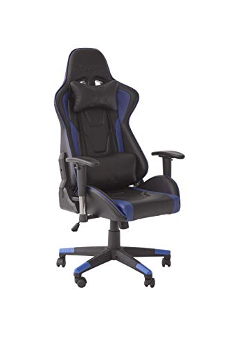 X-Rocker Bravo PC Gaming Chair, Ergonomic High Back Office Computer Desk Chair with Neck and Lumbar Support Cushions, Back Tilt, 3D Adjustable Armrests & Swivel, PU Faux Leather – Blue/Black
