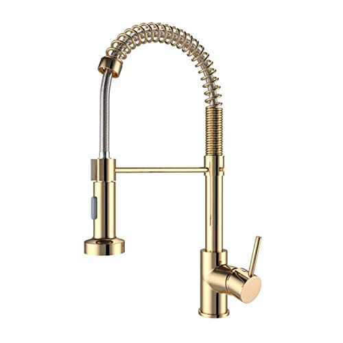 Onyzpily Gold Kitchen Taps Kitchen Sink Mixer tap with Solid Brass Commercial Single Handle Single Hole Pull Down Sprayer Swivel Sprayer Mixer Tap Cold and hot Fittings UK Standard