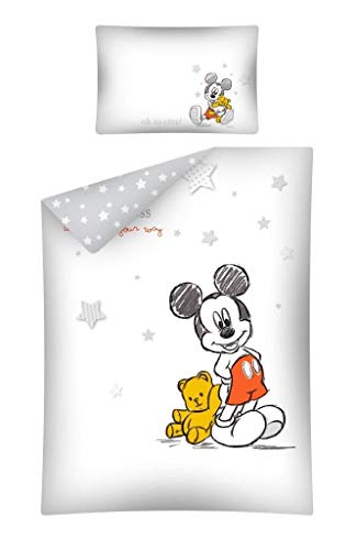 Parure de lit Mickey pour bébé 2 pièces. 100% coton - Housse de Couette 100 x 135 cm + Taie d'Oreiller 40 x 60 cm Rose
