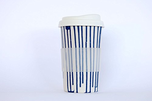 a pair of white with blue stripes handmade to-go/travel cups for home, car or coffee shop use. Silicone lid and cuff, porcelain body. dishwasher proof. 12-14 oz. (2 cups)
