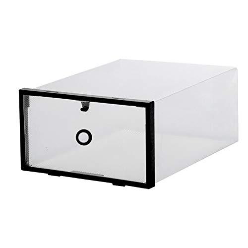 YINAIER Caja almacenaje plastico Transparente, Organizador de Zapatos, (Paquete de 6) para Zapatos de Mujeres, Hombres y niños, Plegables y apilables para Almacenamiento y Viajes(Color:Negro)