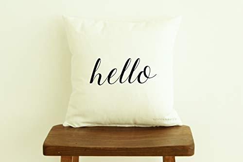 ca4588illa Hello Pillow Welcome Wurfkissen, modern, mit Reißverschluss, rustikal, Heimdekoration, Landhaus-Kissen mit Sprüchen, 50 x 50 cm