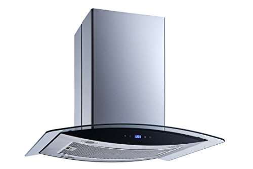 Winflo 30 In. 520 CFM Convertible Stainless Steel Glass Island Range Hood with Mesh Filter and Touch Sensor Control