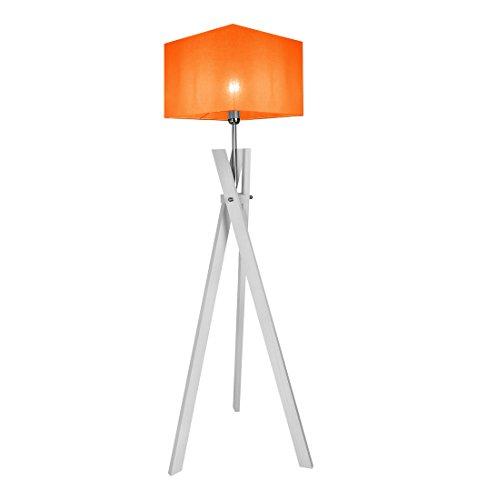Stehlampe Stehleuchte HausLeuchten SL5ORD-WEIß aus Massivholz Deckenfluter Standleuchte (ORANGE)