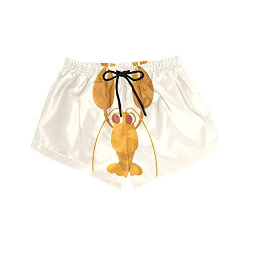 BONIPE Damen-Badehose, niedlicher Krebse, Hummer, schnelltrocknend, Surfen, Strand, Board-Shorts mit Kordelzug und Taschen, Größe S Gr. S, mehrfarbig
