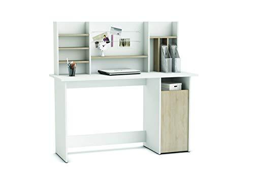 Demeyere 379138 Schreibtisch 1 Kaster und Aufsatz AMBRE, 134,8 x 73,7 x 50,1 cm, sonoma eiche mit struktur / weiß