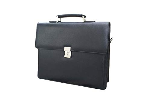 Men's Leather Briefcases Business Office Lawyer Attache Case with Locks 15.6' Laptop Messenger Bags for Men BLACK