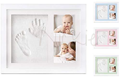 NICKIE Cornice impronte neonato - Kit impronta mani e piedi neonato con 4 colorazioni in regalo - Quadretto impronte neonato da parete e da tavolo - Idea regalo per nascita bambino e bambina.