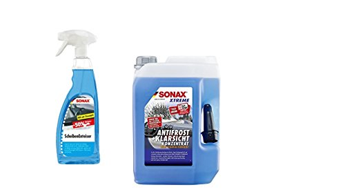 SONAX 232505 Xtreme AntiFrost&KlarSicht Konzentrat, (1 x5 Liter +1 x 750ml Enteiserspray)