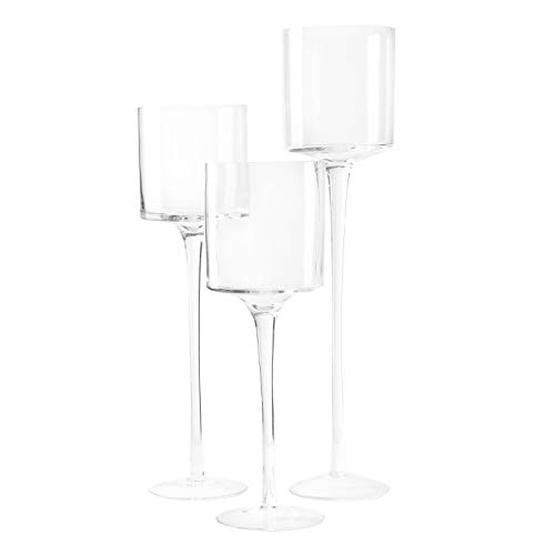Royal Imports Glass Candleholder Flower Vase, Floating & Pillar Candle Centerpiece Display, Decorative Hurricane on Pedestal for Home or Wedding Set of 3, Clear