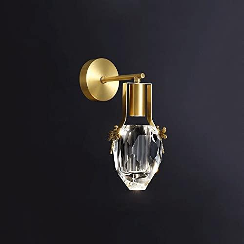 Ksovv LED Wall Aplácces K9 Cristal Lámpara de pared dorada Contemporáneo Copos Decoración de interior Pared de pared Dormitorio de la cama Lámpara de noche Sala de estar Sala de estar Corredor Ilumina