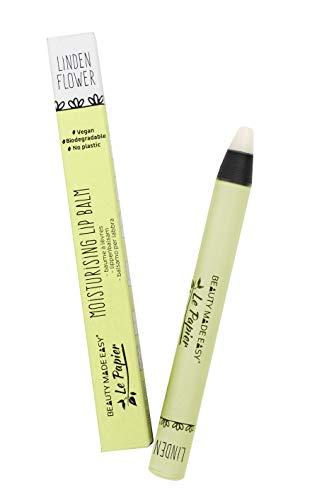 Beauty Made Easy Le Papier Moisturising Vegan Plastic Free Lip Balm, with Shea Butter LINDEN FLOWER 6 g