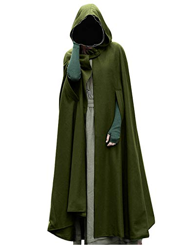 Romacci Women Hooded Cloak Cape Halloween Open Front Poncho Coat Warm Winter Costume Cosplay Outerwear with Full Length Green