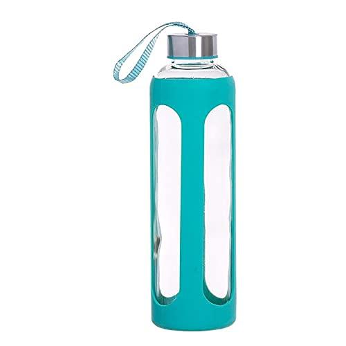 Botella de Agua Cristal con Funda de Silicona Antideslizante y Tapa 600 ML, Botella Agua Deporte/Viaje 7,2x7,2x25 cm (Azul claro)