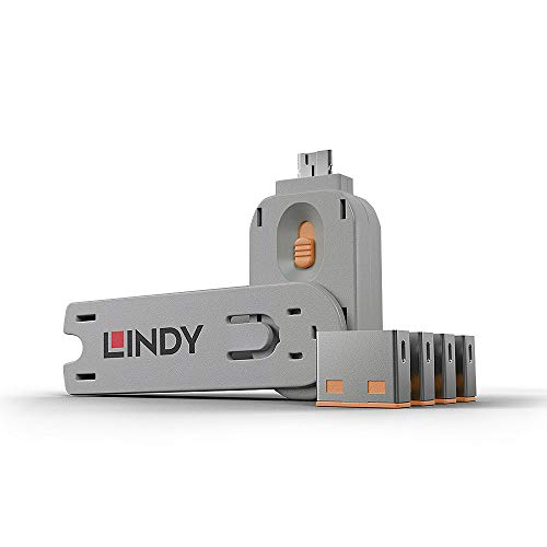 LINDY 40453 - Kit Bloqueador de puertos USB - Llave y 4 bloq
