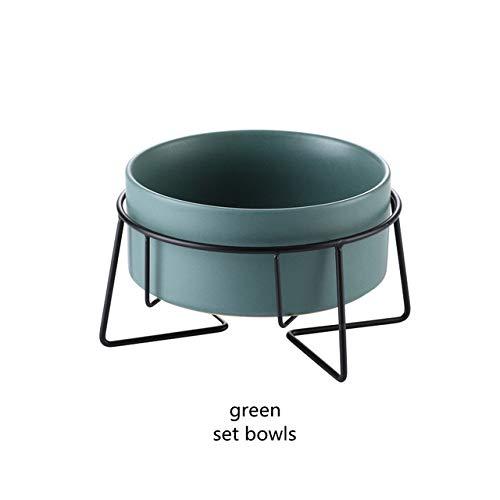 MYYXGS Keramik Gekippte ErhöHte Hunde- Und Katzenwasserschale Stehende FüTterungsutensilien Bambusregal Rutschfestes Hunde- Und Katzengeschirr