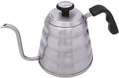 Kaffee Wasserkocher Kaffeekessel mit Thermometer Edelstahl gießen Drip Kaffeekanne Gooseneck Spout Kaffeemaschine Kaffee Drip Kettle Geschenk for Kaffeeliebhaber und Baristas 1.2L Creme Milchkännchen