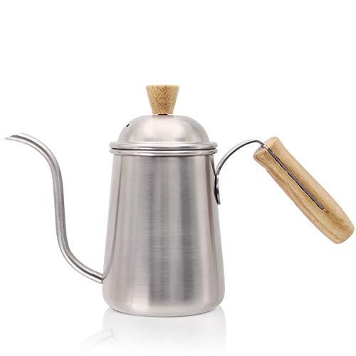 FLSM Kaffeekanne Lange Schwanenhals Teekanne Lange Schmale Gießkanne Kaffeekanne Holzgriff Kaffeekanne Teekanne Silber 27 * 9,5 * 16Cm