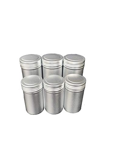 zmgmsmh 6 pcs silver storage tins Tea Canister dull polish metal with thread cap Lids for Loose Tea -Kitchen Canisters, Sugar Storage, Classy Coffee Containers