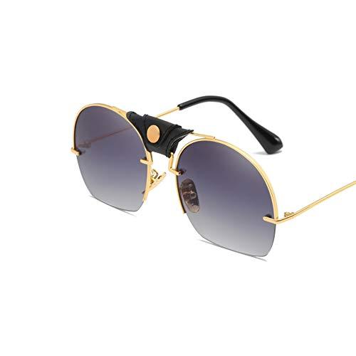 DSFHKUYB Gafas de Sol Polarizadas para Mujer, Montura Metálica, Cortinas Clásicas para Conducir Ciclismo Pesca,Negro