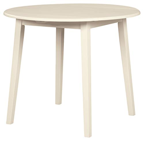 Signature Design By Ashley - Slannery Round Dining Room Drop Leaf Table - Casual Style - White
