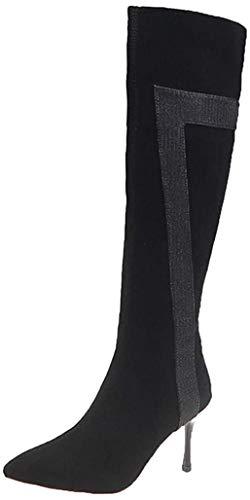 VENMO Damen Reißverschluss High Heels Lange Stiefel Kniehohe Stiefel Blockabsatz Wildleder Knielange Stiefel Herbst Winter High Heel Stiefel