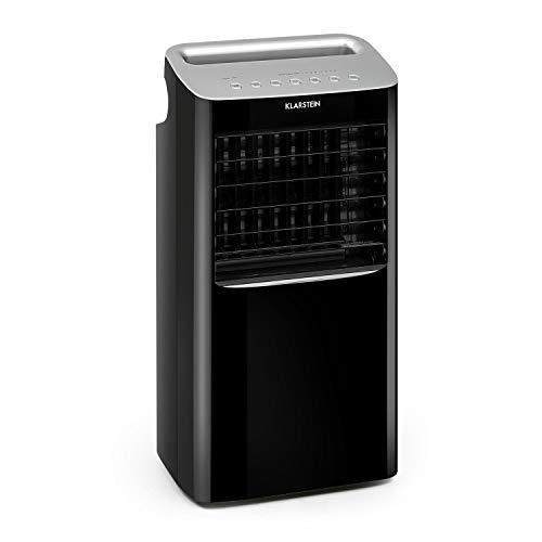 Klarstein Coldplayer - 4-in-1 mobiles Klimagerät: Luftkühler, Ventilator, Luftreiniger & Luftbefeuchter, 68 W, 384 m³/h, 4 Windstärken, horizontale & vertikale Oszillation, inkl. 2 Kühlakkus, schwarz