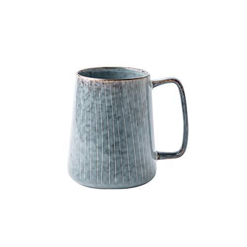 Rghfn Estilo japonés de Gran Capacidad de cerámica Taza de café de la Taza Grande de Agua Simple Taza Rayada Inicio japonés Retro barrigón Taza (Color : UN)