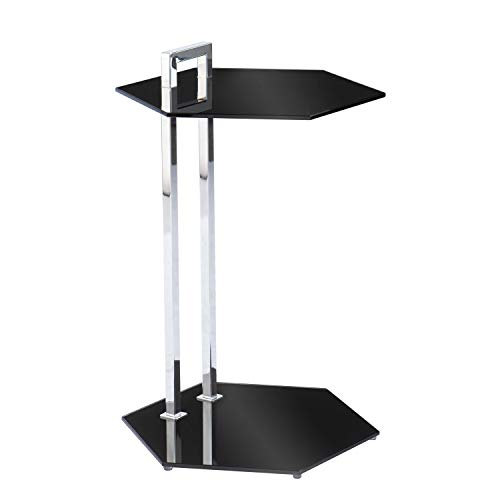 SEI Furniture Corxon Side End Table, Black/Chrome