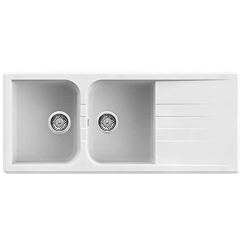 Quareco Prime 116 Lavello da Incasso Granito Bianco 116x50 2 Vasche con Gocciolatoio QLP116BI