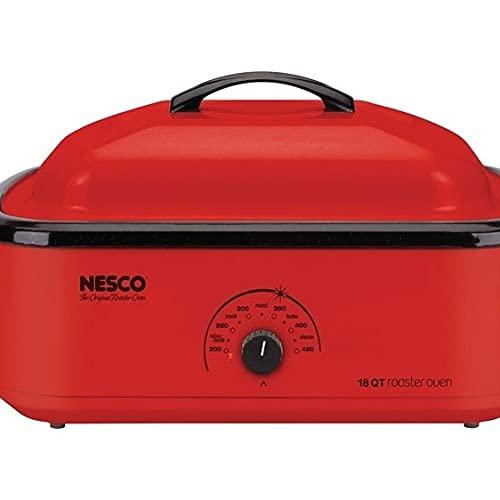 Nesco 6269807 18 qt. Chrome Red Porcelain Roaster Oven - 12 x 15 x 23.5 in.