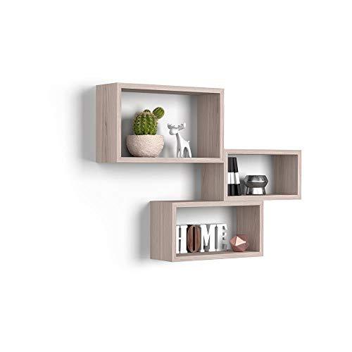 Mobili Fiver, Cubi da Parete Rettangolari, Set da 3, Giuditta, Olmo Perla, Nobilitato, Made in Italy, Disponibile in Vari Colori