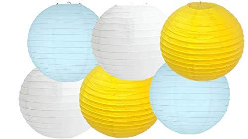 Papierlaternen, verschiedene Farben, 6 Stück, Blau-gelber Lampenschirm, 16