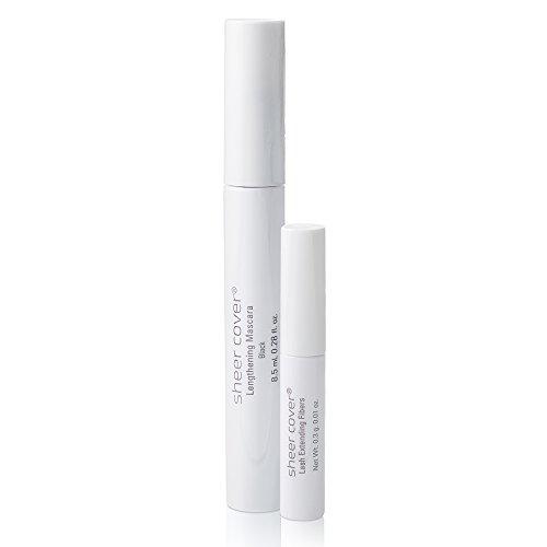 Sheer Cover  Volumizing Mascara & Lengthening Fibers Duo  Lengthening Black Mascara  Lash Extending Fibers 8.5 Milliliters