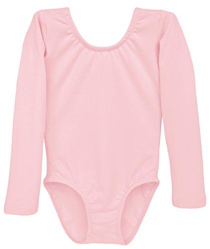 Dancina Leotard Classic Long Sleeve Girls' Team Basics Classic High Neckline Biketard 2T Ballet Pink