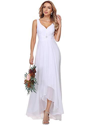 Ever-Pretty Women's Elegant V Neck High-Low A Line Chiffon Long Evening Dresses White UK 22 Plus Size