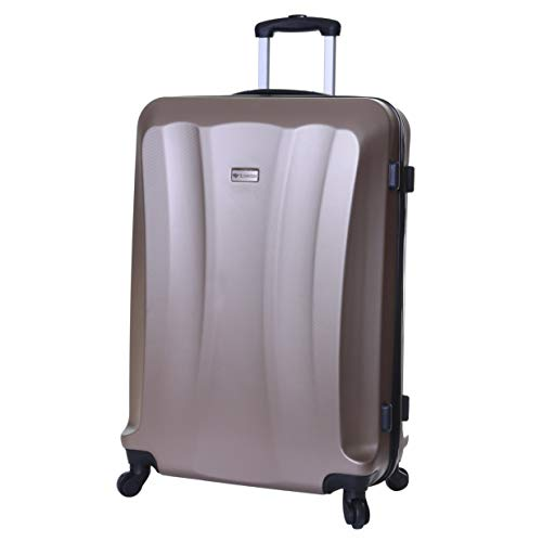 Slimbridge Extra Large Hard Shell Luggage Suitcase Bag XL 78 cm 3.8 kg 85 litres with 4 Wheels and Number Lock, Lydde (78 cm, Champagne)