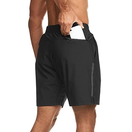 ZAYZ Hombres Pantalones Cortos con Bolsillos, Secado Rápido Respirable Ligero Cintura Elástica Pantalones Deportivos por Gimnasio, Yoga, Corriendo, Capacitación, Senderismo, Ejercicio