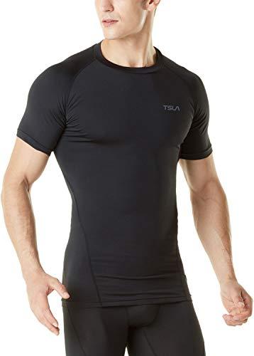 TSLA Men's Thermal Short Sleeve Compression Shirts, Athletic Sports Base Layer Top, Winter Gear Running T-Shirt, Heatlock Short Sleeve(yub59) - Black, XX-Large