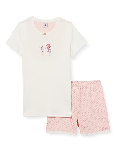 Petit Bateau A003B01 Pajama Set, Marshmallow/Gretel, 10 Ans Girls