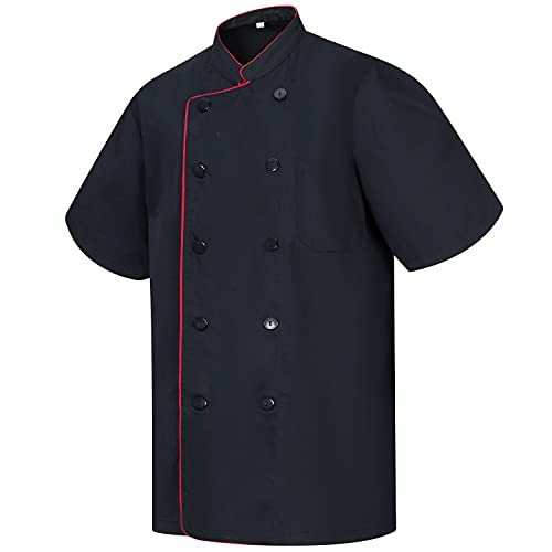 MISEMIYA - Giacche Cuoco Chef Giacche Uomo Fantasia Signore con Bottone RIFORMATO - Ref.8421B - Medium, Nero