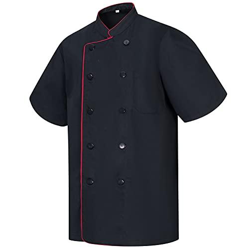 MISEMIYA - Chaquetas Chef Cocinero con BOTÓN REFORMADO MARMINTÓN SOLLASTRE GUISANDERO ADOBADOR Salsero - Ref.8421B - XXL, Negro
