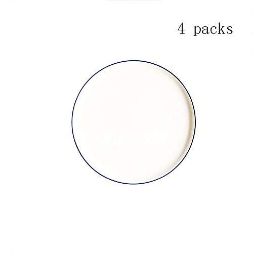 Ploutne Porcelaine 4 Pièce Set Plat Set Élégant Plat Blanc Assiette Plaque Meuble De Rangement Vaisselle en Métal Séchoir Support Support for Armoire De Cuisine Comptoir Grand Blanc Petite Assiette