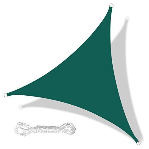 Triángulo Anti-UV Parasol Vela Patio al Aire Libre Fiesta Protector Solar Canopy Sunsail 3.6x3.6x3.6m, Verde